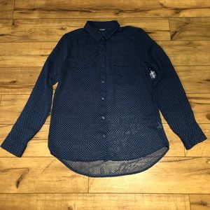 Navy Patterned Sheer Button Down Blouse